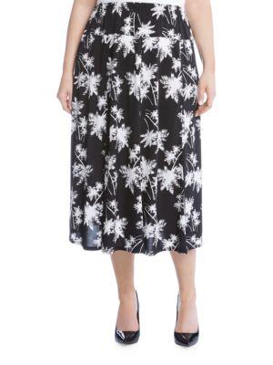 Star Print Midi Skirt by Karen Kane Plus