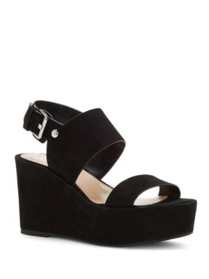 Karlan Nubuck Leather Platform Wedge Sandals by Vince Camuto