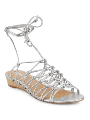 Caper Metallic Leather Cage Sandals by Tahari