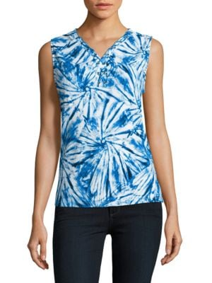 Petite Lace-Up Tie-Dye Top 500086983506