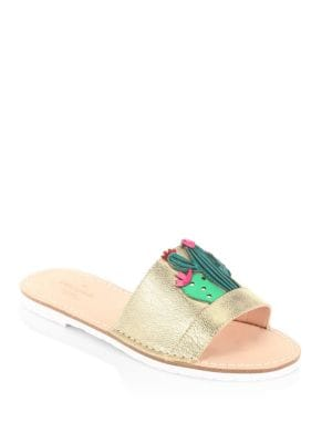 Iguana Metallic Leather Slides by Kate Spade New York