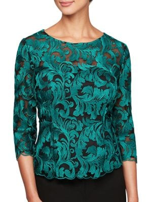 Baroque Print Illusion Top by Alex Evenings