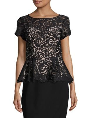 Lace Peplum Top by Alex Evenings
