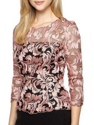 Embroidered Illusion Top by Alex Evenings