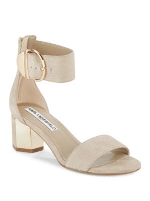 Haila Leather Block Heel Sandals by Karl Lagerfeld Paris