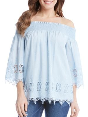 Sea Glass Lace Off-the-Shoulder Top by Karen Kane