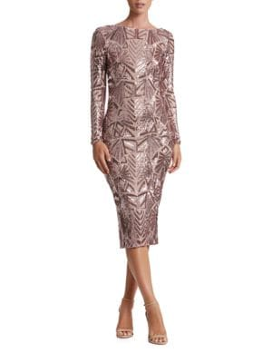 Emery Geometric Sequined Midi Dress by Dress The Population