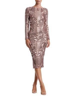 Emery Geometric Sequined Midi Dress by Dress The Population
