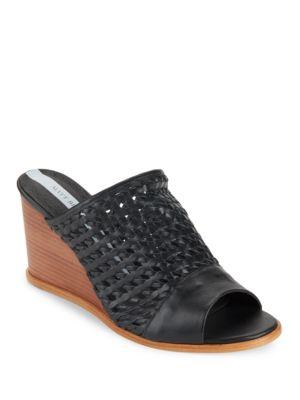 Basket-Weaved Leather Wedge Sandals by Matt Bernson