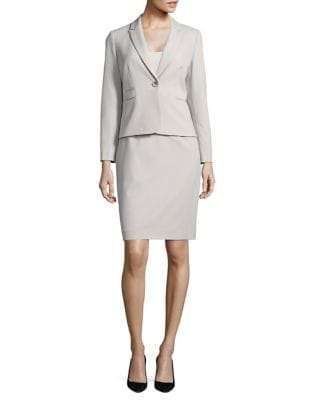 Solid One-Button Skirt Suit by Tahari Arthur S. Levine