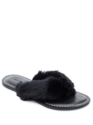 Miami Real Rabbit Fur Thong Sandals by Bernardo