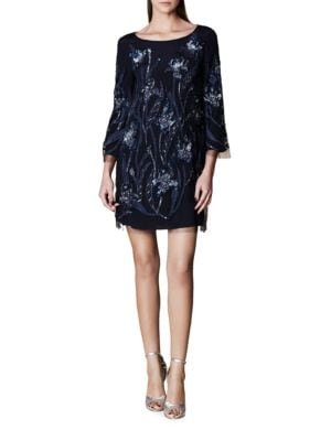 Embellished Three-Fourth-Sleeve Dress by Marchesa Notte