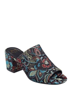 Rain Floral-Print Block Heel Mules by Marc Fisher LTD