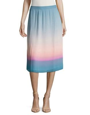 Ombre Pleated Midi Skirt...