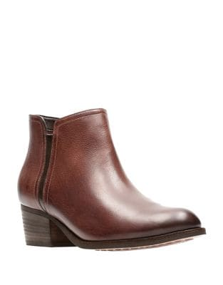Mayprl Stacked Heel Leather Booties by Clarks