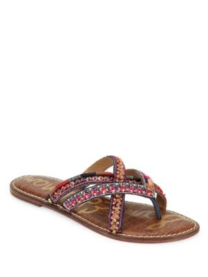 Buy Karly Beaded Leather Sandals by Sam Edelman online