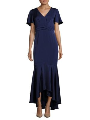 MIDNIGHT Cape Sleeve Hi-Lo Flounce Gown by Shoshanna