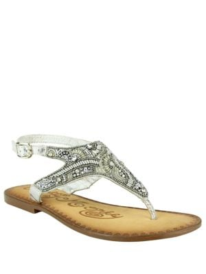 Adeley Embellished Leather Thong Sandals by Naughty Monkey