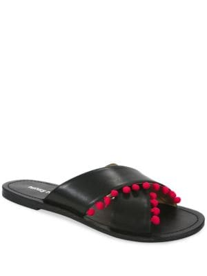 Gladys Pom-pom Trimmed Flat Sandals by Luxury Rebel