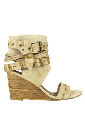Lasalle Buckle Wedge Sandals by Naughty Monkey