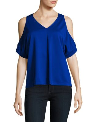 Cold-Shoulder V-neck Top 500087010316