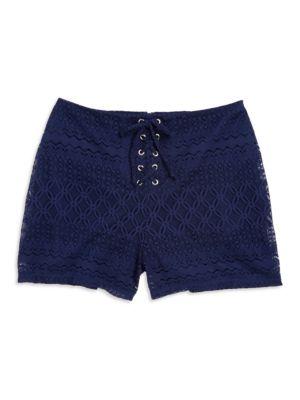 Girls Lace-Up Lace Shorts...