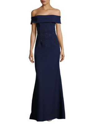 Scuba Embellished Off-The-Shoulder Gown by Teri Jon