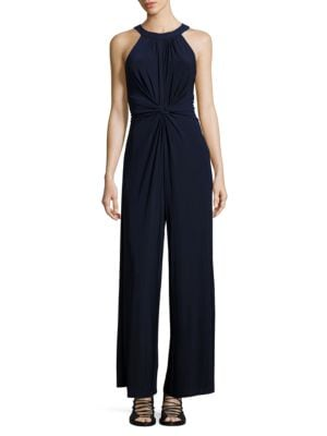 Solid Sleeveless Halter Long Jumpsuit by Vince Camuto Plus