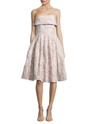Strapless Floral Jacquard Dress by Badgley Mischka Platinum