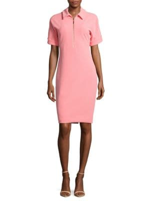 Short-Sleeve Solid Sheath Dress by Badgley Mischka Platinum