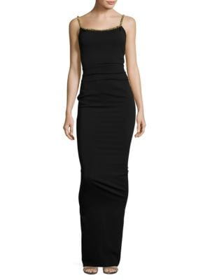 Beaded-Trim Bodycon Gown by Nicole Bakti