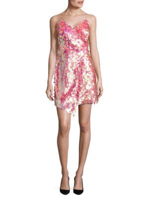 Iridescent Sequin Faux Wrap Dress by Aidan Aidan Mattox