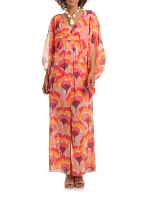 Blossom Stretch-Silk Caftan Gown by Trina Turk