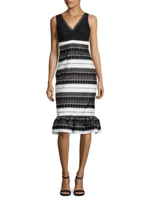 Striped Flutter Hem Dress by Nicole Miller