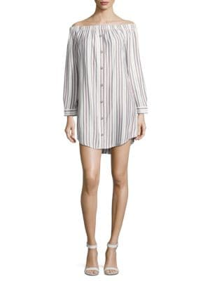 Striped Off-the-Shoulder Shirtdress by Wayf