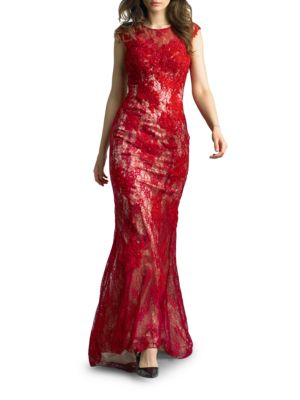 Embroidered Lace Gown by Tadashi Shoji