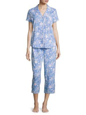 Printed Cotton-Blend Pajama Set by Karen Neuburger
