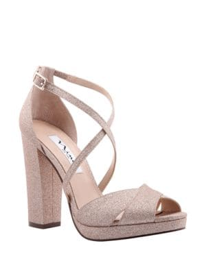 Marylyn Glitter Fabric Peep Toe Pumps by Nina
