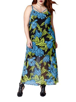 Plus Sleeveless Printed Maxi Dress