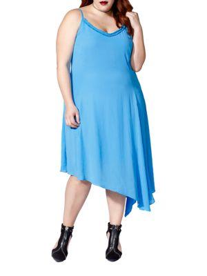Plus Sleeveless Crepe Asymmetric Dress
