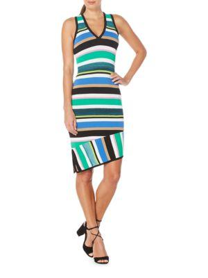 Striped Asymmetric Sheath Dress by Laundry by Shelli Segal