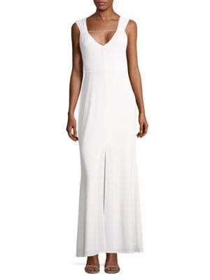 Sleeveless Deep V Column Gown by Laundry by Shelli Segal