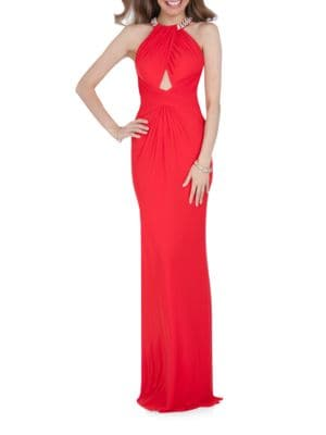 Halterneck Open-Back Gown by Glamour by Terani Couture