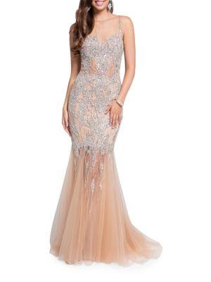 Embellished Mermaid Gown by Mac Duggal