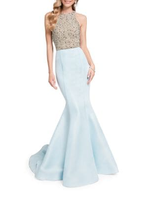 Beaded Sleeveless Train Gown by Glamour by Terani Couture