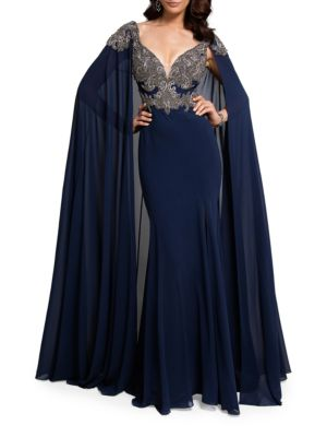 Embroidered Cape Gown by Glamour by Terani Couture
