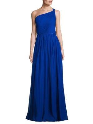Pleated Silk One-Shoulder Gown by Aidan Aidan Mattox
