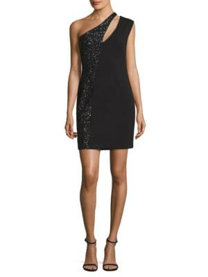 One-Shoulder Sequined Crepe Dress by Aidan Aidan Mattox