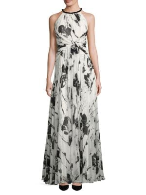 Halterneck Floral-Print Gown by Carmen Marc Valvo