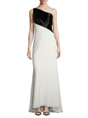 Two-Tone Beaded Gown by Carmen Marc Valvo